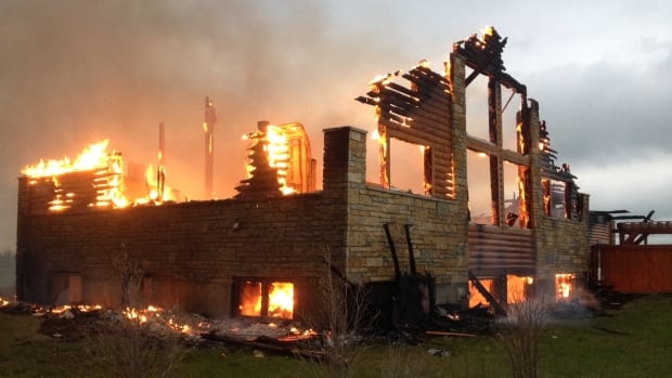 Fire broke out at this home near Saskatoon early this morning.
