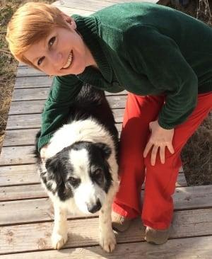 Christine Harris and Samwise border collie dog