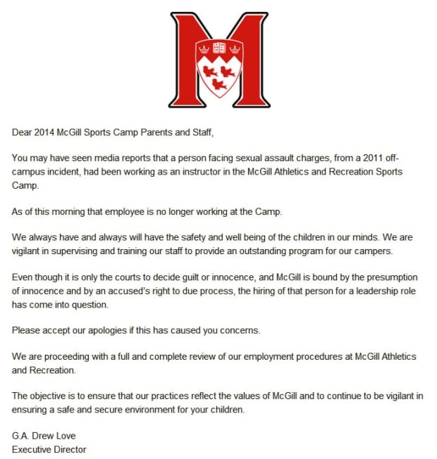 mcgill notice to day camp parents