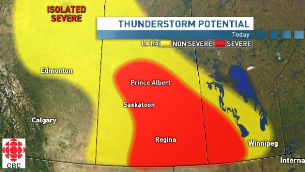 Thunderstorms are predicted for large portion of south and central Saskatchewan on Thursday.