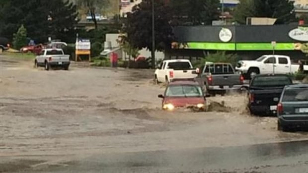 Kamloops, B.C., was among areas in southern B.C. hit with flash floods Wednesday afternoon after about 25 mm of rain soaked the region in about 20 minutes.