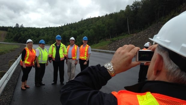 Transportation and Infrastructure Minister Claude Williams led a tour of the Route 8 Marysville bypass, a $120-million, 32-kilometre road that will open in August, on Thursday.
