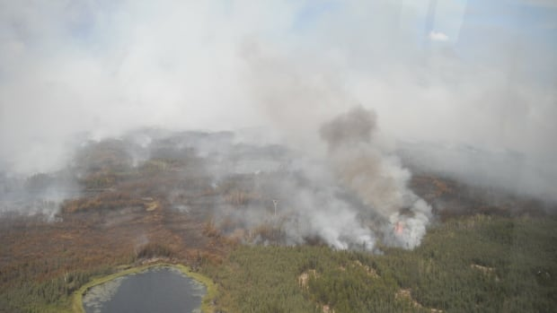 An aerial view of a forest fire near the high-voltage power transmission line between Behchoko and the Snare hydroelectric plant that caused outages in Yellowknife, Behchoko and Dettah on Tuesday. Smoke and fire under a line can cause the line to become grounded which shorts it out causing an outage.