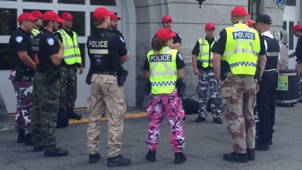 Montreal police are wearing casual pants as a symbolic protest against the Quebec government's proposed pension reforms.