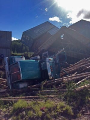 Logging truck and train collision, Burns Lake, B.C.