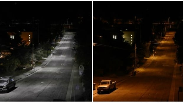 A street in Oakland, Calif., after (left) and before the city installed new GE Lighting LED lights.