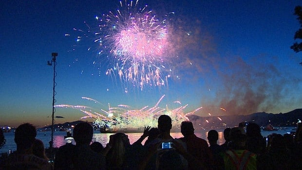 Fireworks light up English Bay
