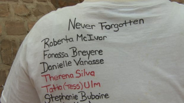 The names of women who have gone missing or been murdered are inscribed on t-shirts worn by some of those who took part in the event Saturday.