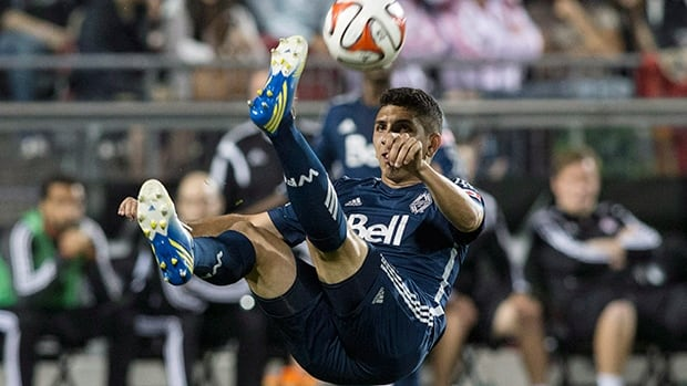 Argentinian international Matias Laba (15) and the Vancouver Whitecaps welcome FC Dallas to B.C. Place on Sunday afternoon.