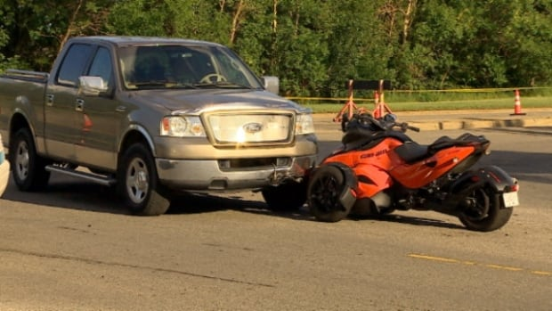 A man was taken to hospital in serious condition after his three-wheeled motorcycle was struck by a truck Sunday.