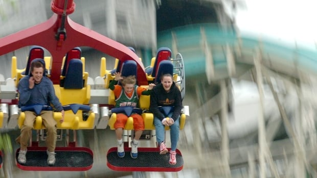 In this May 4, 2006, file photo, people ride the Skyhawk, at Cedar Point amusement park, in Sandusky, Ohio, where the ride has been closed indefinitely after a cable snapped, injuring two visitors Saturday.