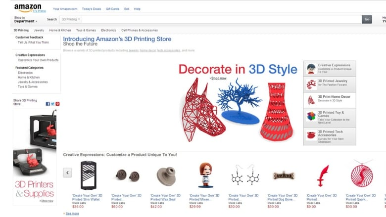 amazon launched its 3d printed products marketplace monday offering custom manufactured items including jewelry home decor and toys amazoncom