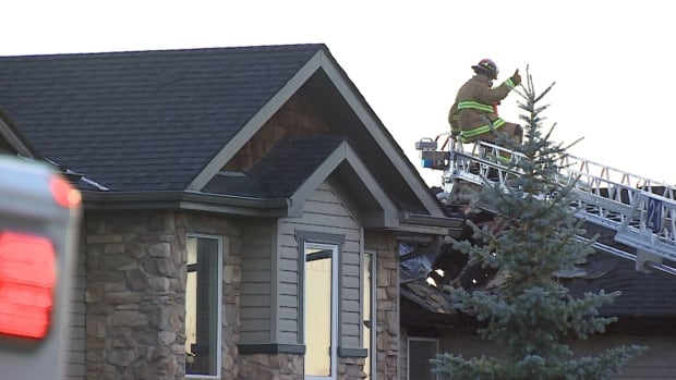 Calgary fire crews battled a major blaze in the northwest district of Kincora early Monday morning.