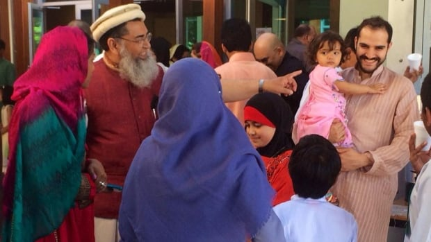 Eid is normally a joyful time, as seen in this photo taken at the Masjid Al-Salaam Mosque in Burnaby, B.C., in 2014. After prayers, families gather for a celebration and feast.