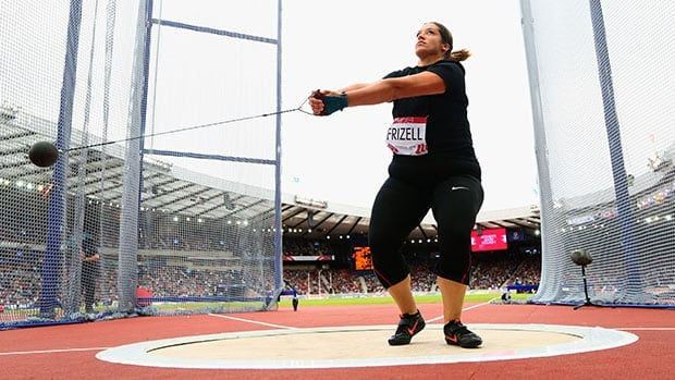 Canada's Sultana Frizell Canada competes in the women's hammer throw at the Commonwealth Games.