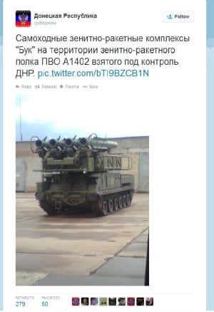 Pro-Russian rebels post on Twitter