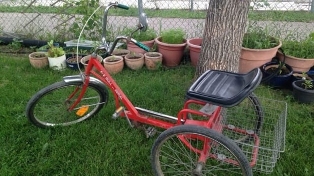 A special tricycle belonging to a girl with cerebral palsy was stolen from the family's Regina yard Monday.