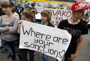 EU sanctions protest Kyiv