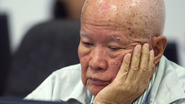 Khieu Samphan, former Khmer Rouge head of state, sits in the court room during a hearing at the UN-backed war crimes tribunal in Phnom Penh, Cambodia. He's one of two surviving senior members of the Khmer Rouge government currently on trial.