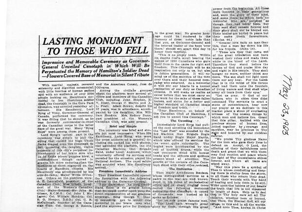 Hamilton Herald 1923 Gore Park story