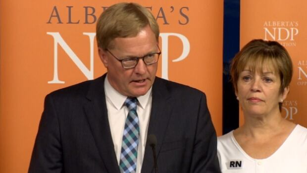 NDP health critic David Eggen was joined by members of various unions at Wednesday's news conference.