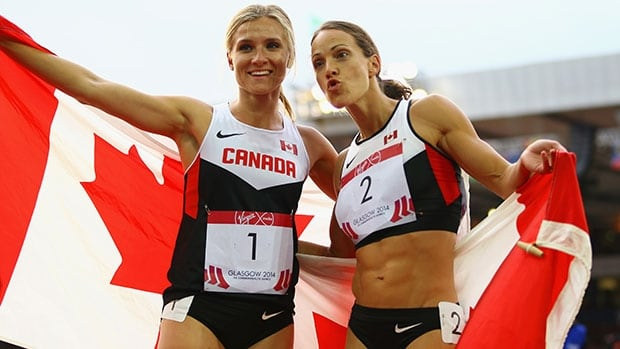 Brianne Theisen-Eaton, left, and Jessica Zelinka provided one of the best moments of the Games for Canada when they finished 1-2 in women's heptathlon.