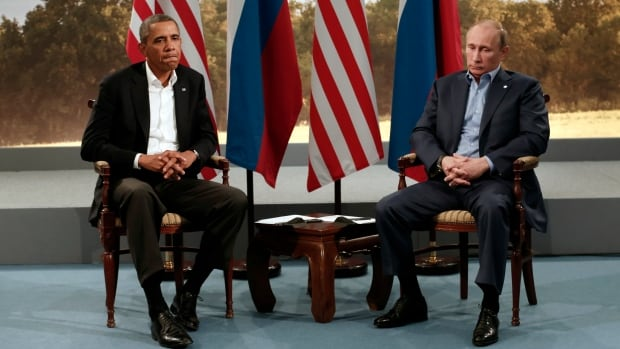 U.S. President Barack Obama meets with Russian President Vladimir Putin during the G8 Summit at Lough Erne in Enniskillen,  Northern Ireland June 17, 2013. Relations between the two countries have been tense in recent months with the U.S. imposing sanctions on Russia over its role in Ukraine.