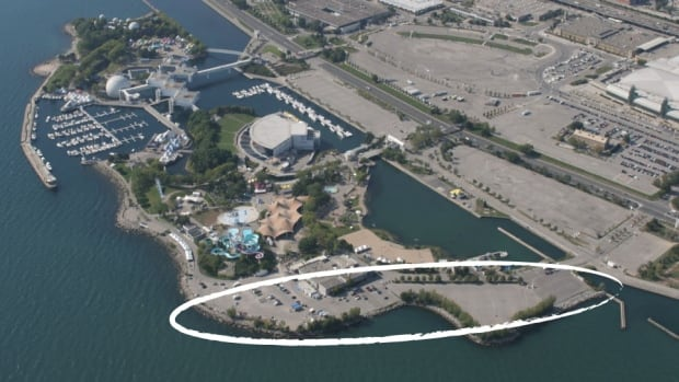 The urban park and waterfront trail will be built within the part of Ontario Place shown in the image above. The final design for both attractions have not yet been publicly revealed.