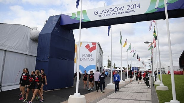 Athletes walk through the Glasgow village before the start of the Commonwealth Games.