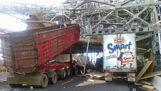 The dump truck that struck the Burlington Skyway bridge had its bucket raised as it slammed into the bridge's overhead steel trusses and girders.
