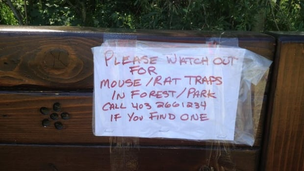 Handwritten notes are now posted around Braeside off-leash area after police say a dog was injured by a mouse trap or a board with nails in it yesterday.