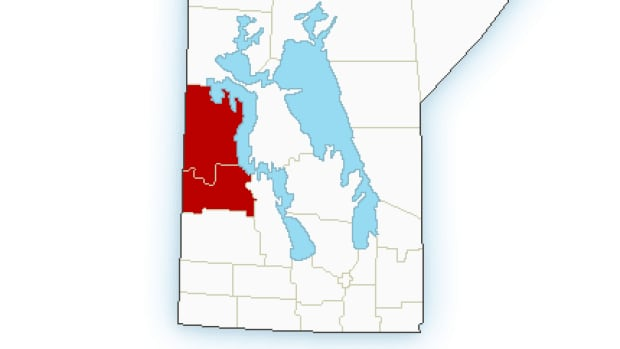 Environment Canada issued a severe thunderstorm warning on Friday afternoon for these sections of western Manitoba.