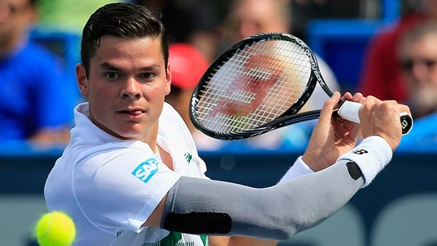 Milos Raonic of Thornhill, Ont., readies a backhand return in a 6-4, 7-5 victory over Donald Young at the Citi Open on Saturday.