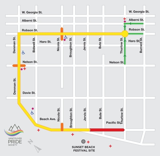 2014 Vancouver Pride Parade route map