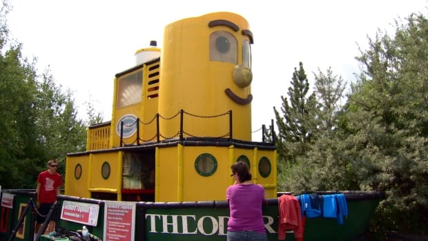 A mother says her child burned her feet in the Theodore Tugboat play area at Calaway Park.