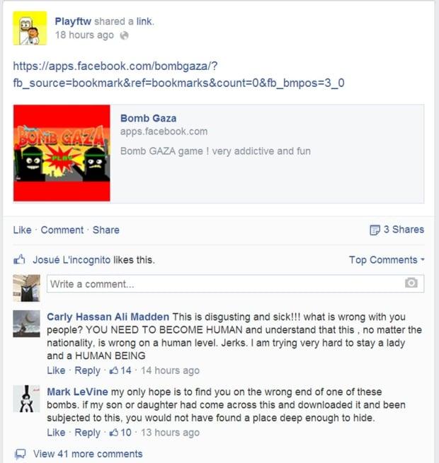 Bomb Gaza PlayFTW Facebook