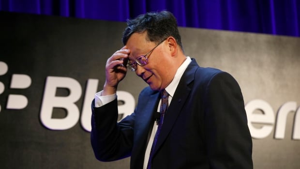 BlackBerry CEO John Chen gestures during the BlackBerry Security Summit in New York, July 29, 2014. He says BlackBerry has concluded a difficult restructuring process and is back on a growth footing, according to an internal memo sent to all its employees.