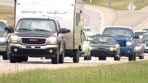 The Trans-Canada Highway was busy Monday afternoon as people returned to Calgary.