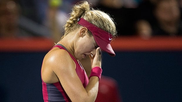 Canada's Eugenie Bouchard was a stunning loser in her opening match at the Rogers Cup on Tuesday in Montreal.