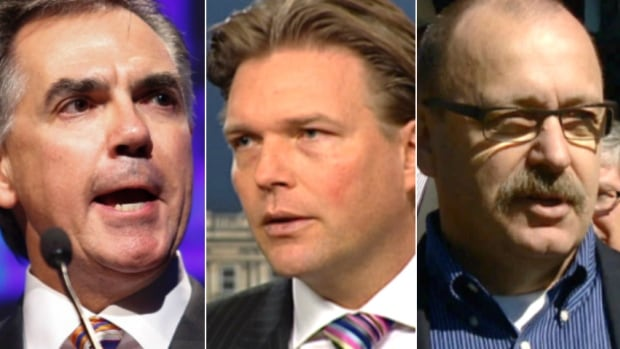 The three PC leadership candidates, Jim Prentice (left), Thomas Lukaszuk (centre) and Ric McIver, will face off in an online vote.