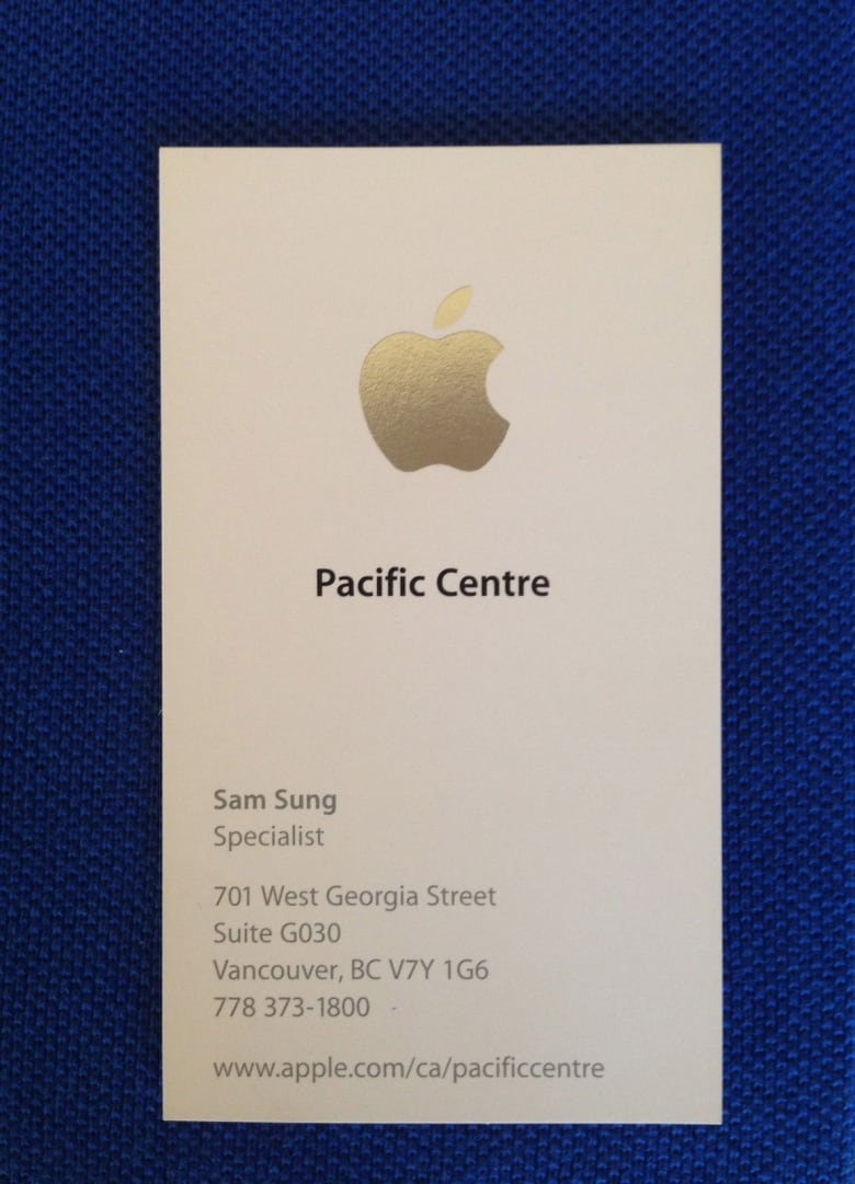 Sam sung auctions off apple store specialist business card cbc news samsung and apple are competitors so when a photo of sam sungs business card was posted online it went viral ebay reheart Images