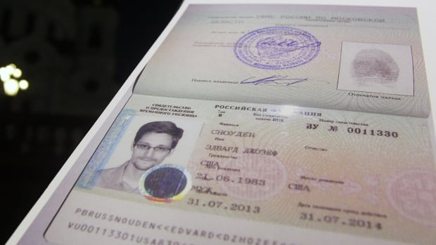 Fugitive former U.S. spy agency contractor Edward Snowden's refugee documents granted by Russia from last year. He has been granted permission to stay for three more years.