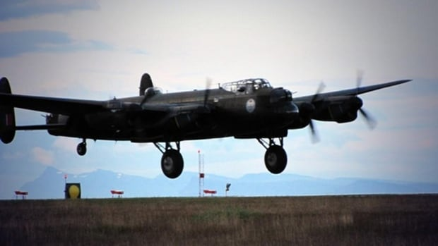 The Lancaster Bomber touches down in Keflavík, Iceland, after seven hours and 40 minutes in the air.