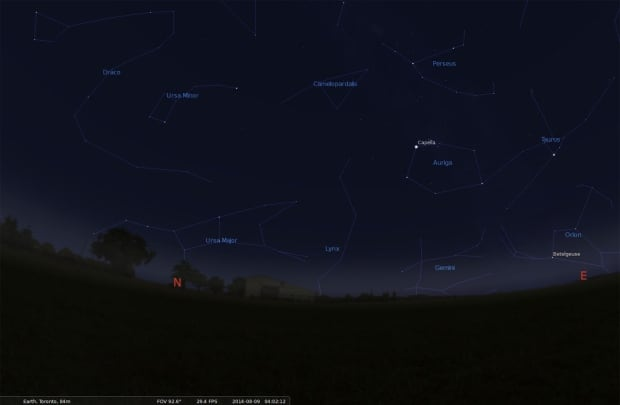 Location of Perseus in northeast sky