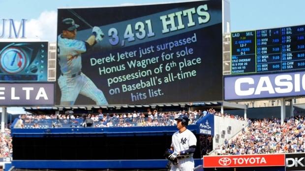 New York Yankees shortstop Derek Jeter needs 84 hits to catch Tris Speaker at 3,515.