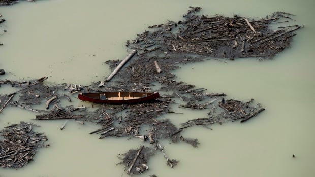 An aerial view shows the damage caused by a tailings pond breach on Polley Lake B.C. THE CANADIAN PRESS/Jonathan Hayward