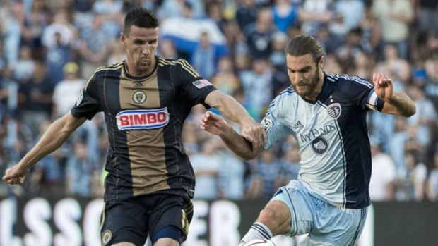 Philadelphia's Sebastien Le Toux, left, seen here in a previous match, scored a pair of goals as the Union defeated the Montreal Impact Saturday.