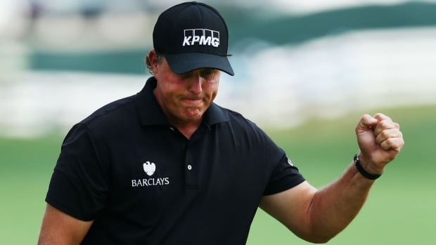 Lefty Phil Mickelson finished runner-up to Rory McIlroy on Sunday at the PGA Championship.