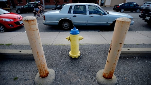 A car is illegally parked in front of the most lucrative fire hydrant in Ottawa on Aug. 7, 2014. This hydrant has made the City of Ottawa approximately $65,000 since 2008.