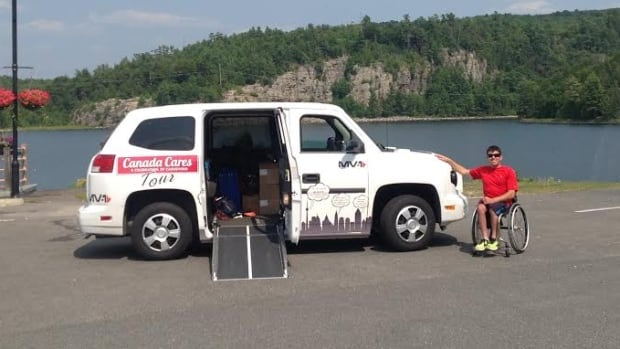 The Canada Cares tour members are travelling in an MV-1 — a $40,000 wheelchair- accessible vehicle that will be given away at the end of the journey.
